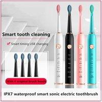 Potenti spazzolini da denti elettrici per adulti per adulti, 6 modalità con timer intelligente, impermeabile USB ricaricabile spazzolino da denti ricaricabile