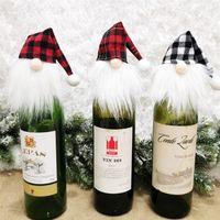 Bouteille Ornement chanceux de Noël vin rouge vin Couverture Couverture Arbre de Noël Hanging Pendentif bouteille Fête Festival Couvre Faceless Poupée Décor E110303