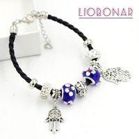 Bracciali di fascino 10pcs all'ingrosso blu lampwork di vetro di murano vetro treccia in pelle braccialetto di cuoio braccialetto per le donne regalo regalo bijoux pulsera1