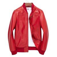 Männer Leder Faux 2021 Mode Baseball Echte Jacke Rot Klassische Sportkleidung Junger Mann Herbst Mantel