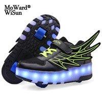 크기 28-40 키즈 롤러 스 니 커 즈 LED 조명 소년 소녀들이 빛나는 바퀴 신발 어린이를위한 빛나는 신발 바퀴가 다시 충전 된 LJ201027