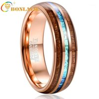Bonlavie 6mm Rose Gold Locust Tree Tree Wood e imitated Opal Inlay Tungsten Carbide Anillos Bandas de boda para hombres Comfort1
