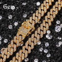 Alta calidad europea y americana nueva tira de 12 mm cadena de enlace cubano collar para hombre chapado en oro, aleación de diamantes de diamante, suministro de collar de hip hop de aleación de diamantes