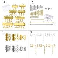 Andere 1 Set Gold Silber Überzogene Messing Layered Armband Halsketten Schlitten Magnetrohrverriegelung mit Hummer-Klammern Schmuck-Erkenntnisse1