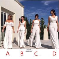2021 새로운 흰색 들러리 바지 정장 복장 섹시한 백리스 레이스 쉬폰 여름 웨딩 게스트 드레스 플러스 사이즈