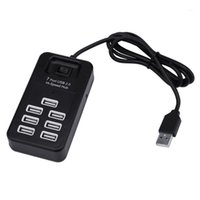 Destek 1 TB HDD 7 Port USB2.0 HI-Speed Hub 480 Mbps ile Açık / Kapama Anahtarı Bilgisayar Tablet Için Çok Bağlantı Noktası USB Uzatma Hub 20APR141