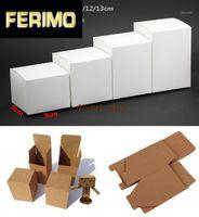 50 шт. / Лот-9 * 9 * (6-13) h Пустая белая бумага крафт бумаги крафта подарочная коробка косметика ручной работы мыло для хранения коробки клапанов упаковки1