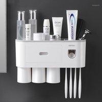 Soporte de cepillo de dientes Copa de adsorción magnética invertida a prueba de polvo a prueba de dientes exprimidor dispensador accesorios de baño conjuntos1