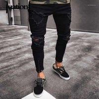 Erkek Kot Pantolon Sıkıntılı Siyah Sıska Erkekler Yırtık Streetwear Hip Hop Diz Delik Fermuar Slim Pantolon 2021 Moda Homme1