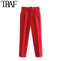 TRAF Frauen Chic Mode Hohe Taille mit Gürtelhosen Vintage Reißverschluss Fliegen Taschen Büro Wear Weibliche Knöchelhose Mujer 201103
