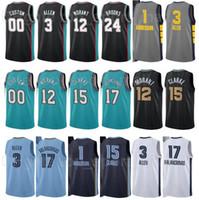 Baloncesto impreso JA Morant Jersey 12 Jonas Valanciunas 17 Kyle Anderson 1 Grayson Allen 3 Ciudad Edición Ganada Azul marino Blanco Negro