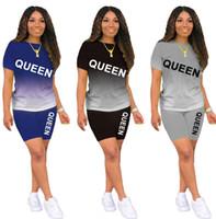 Été Deux Morceaux SweatSuits Femmes Suivi des tenues d'été Moins de jogging T-shirt + Short Pull à manches courtes Lettre Sportswear S-2XL 4402
