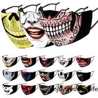 Schnelle Schiff Gesichtsmasken Halloween Masken Rauchen Onkel Maske Schädel-Maske 3D-Drucktuch austauschbare Filtererwachsenenmaske