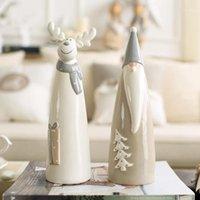Современная керамическая лось Figurine Creative Santa Claus домашний декор ремесел мультфильм уникальные животные рождественские орнаменты1