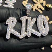 Nombre personalizado A- Z Piedras de doble capa Piedras Cursive Letras Colgante Collar para hombres Mujeres Regalos Cubic Zirconia Necklace Hip Hop Jewelry