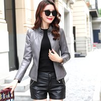 Yeni Moda Bayan İnce Sahte Deri ceketler Bayanlar Yumuşak Yıkama Deri Ceket Plus Size 5XL Kadın deri Fermuarlar Giyim Y201001