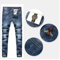 Fashion Designer men Shirts Men' s Jeans Pant Slim Men&#...