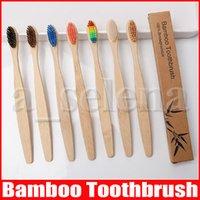 Cepillo de dientes de bambú de madera del arco iris ambientalmente Cepillo de dientes de bambú de la fibra de madera cepillo de mango para blanquear los dientes del arco iris