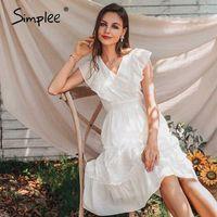 Simple elegante em v-pescoço de vclângula manga mulheres vestido verão branco a linha midi escritório feminino escritório sundress diariamente desgaste senhoras midi dresses1