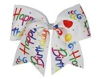 Novo Feliz Aniversário 8 polegadas Grandes Cabelo De Cabelo Arcos Suporte Elástico Faixa Handmade para Adolescentes Meninas Softball Cheerleader Sports1