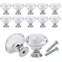 30 мм алмазные кристалл дверные ручки стеклянные ящики ручки кухонные шкаф мебель ручка ручки винтовые ручки и
