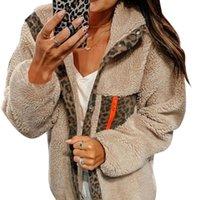 Chaqueta con capucha de leopardo femenino de la piel de piel sintética Chaqueta con capucha Casual Abrigo de invierno Mujer cálida piel de peluche Manteau Fourure Femme D25