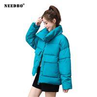 NEEDBO Зимняя куртка женщин плюс размер Сыпучие вскользь женщина зимние пальто и куртки Puffer проложенный Стенд Воротник Parka Outwear 201014