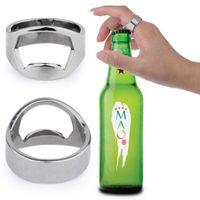 ステンレススチールビールバーツールフィンガーリングボトルオープナービールボトルフォーバーキッチンバーツールアクセサリLX4520