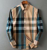 2021 Moda roupas masculinas Slim Fit Manta De Negócios De Negócios Camisa Verão Homme Mens Lattice Shirts Longo manga blusa tops # D02