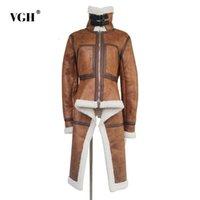 Blends de lã feminina VGH inverno lambswool jaqueta de grandes dimensões para mulheres pele quente assimétrica solta plus tamanho casaco feminino outerwear