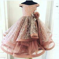 Erröten Sie Rosa 2021 Blumenmädchenkleider Ballkleid Kleines Mädchen Geburtstagsfeierkleider Vintage Vintage von Schulterkommunion Pageant Kleider