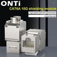 Computerkabel-Anschlüsse ONTI-Netzwerk RJ45 CAT6A Keystone Jack-Modul 360 Grad Full Shirmed Sockel zur lsa Werkzeugfreie Kündigung1
