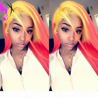 Hot 180% Dichte Zwei Ton Farbe Gelb Rosa Wig Simulition Human Haare Perücke Glueless Synthetische Ombre Lace Front Perücken für Frauen
