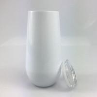 DIY التسامي 6oz كأس البيض شكل بهلوان القدح نقل الحرارة الطباعة الأبيض ثلج الفولاذ المقاوم للصدأ الفضة معزول النبيذ الزجاج
