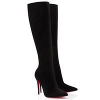 """20S Kış Kadın Uzun Çizme Topuklar Ayakkabı Kırmızı Alt Boot İçin Kadın Tournoi Siyah Süet """"kutusu Eloise Botta 85mm Deri Uzun Patik"""