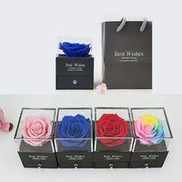 Día de San Valentín Regalo Embalaje Caja de embalaje Conservado Flor Joyería Caja de regalo Cosmética Acrílico Caja de embalaje de flores