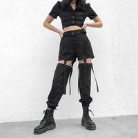 Летний хип-хоп Высокие талии Грузовые брюки Женщины Joggers Street Style Стиль Брюки Пряжка Трек Брюки Регулируемые Пустоты Pantalon