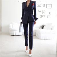 Suits Pant 2 conjuntos de peças listrado Blazer calças casaco para mulheres senhora do escritório Conjuntos Spring Business Uniforme Roupa de Trabalho Formal