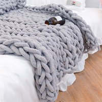 Chenille Chunky вязаное одеяло ткачество одеяло коврик бросить стул декор теплая пряжа вязаное одеяло дома декор для фотографии D30 201111