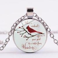 Cardinale Parrot Collana Red Bird My Angel Il tuo nome Bible Quota Art Picture Glass Ciondolo Memoria Pendente di qualcuno Gioielli regalo