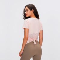요가 짧은 소매 탑스 티셔츠 분할 메쉬 여성 피트니스 실행 패션 붕대 빠른 건조 통기성 느슨한 조끼 블라우스 티