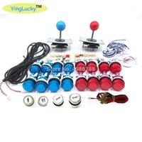DIY Joystick Arcade Kits 2 Spieler mit 20 LED-Arcade-Tasten + 2 Joysticks + USB-Encoder-Kit Kabel Game Parts Set1