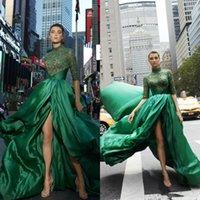 2021 verde vestiti da sera di alta del collo Appliqued merletto mezza manica lunga Una linea abiti di promenade Split su ordine Plus Size Cocktail Party Dress