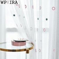 Cortina cortinas coloridas círculos fios para sala de estar malha tecido bordado voile crianças balcão tulle drapese s510 # c