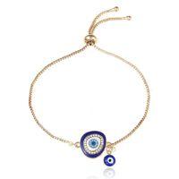 Pulsera de ojo S1806 de la manera caliente Mal joyería pulsera del ojo azul Rhinstone