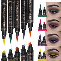 12 Cor Eyeliner Stamp lápis Waterproof Maquiagem longas duração Eye Liner Natural Matte líquido preto roxo selo vermelho dos olhos verdes