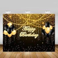 Golden Glitter Happy Birthday Backdrop PhotoCall Bokeh Balloons Adult Birthday Party Photo Sfondo Black Gold Dots Backdrops1