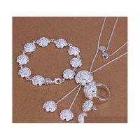 Großhandel - Niedrigster Preis Weihnachtsgeschenk 925 Sterling Silber Mode Halskette + Ohrringe Set QS186 X4ITN