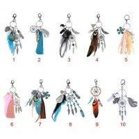 Keychains 1pc Key Chain Ring Feather Tassels Dreamcatcher Charm Pendant Keyring Keychain1