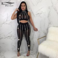 Bonnie Forese Sparkly Crystal Crystal Crysted Junny Pampsuits Rompers Женщины Эластичные Сдержанные Сетка Сетка Двухструктурные Брюки Набор Night Outfits1
